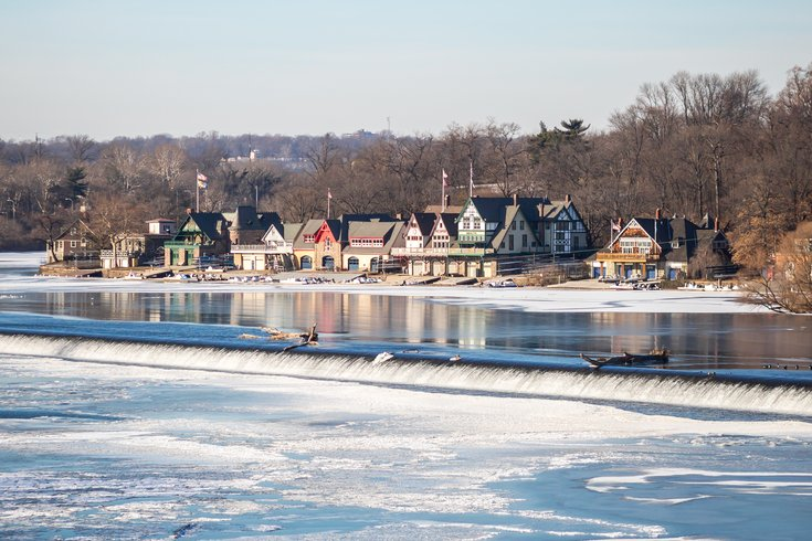 Carroll - Frozen Schuylkill River and Boathouse Row