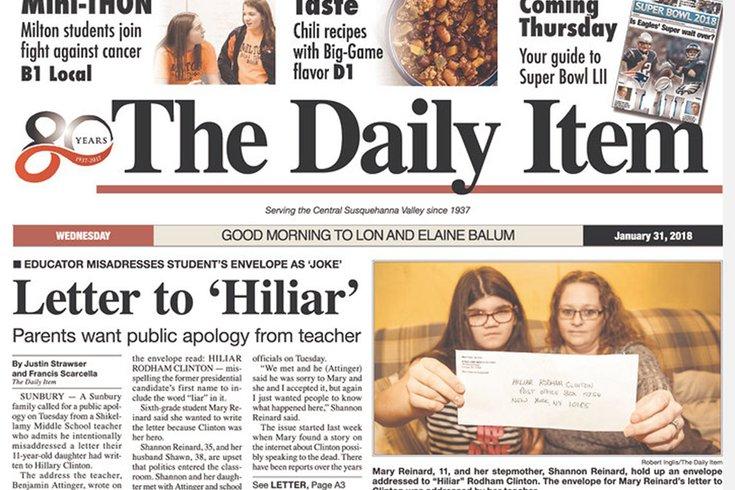 Pa. teacher addresses student's letter 'Hiliar' Clinton
