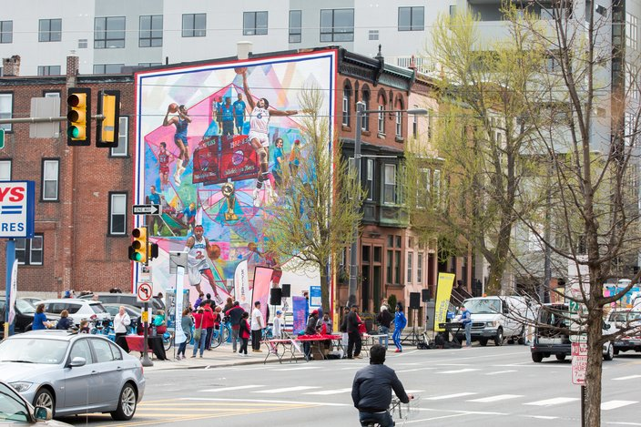 Photos new 76ers mural unveiled phillyvoice for Dr j mural philadelphia