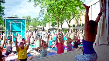 Yoga happy hour at KOP