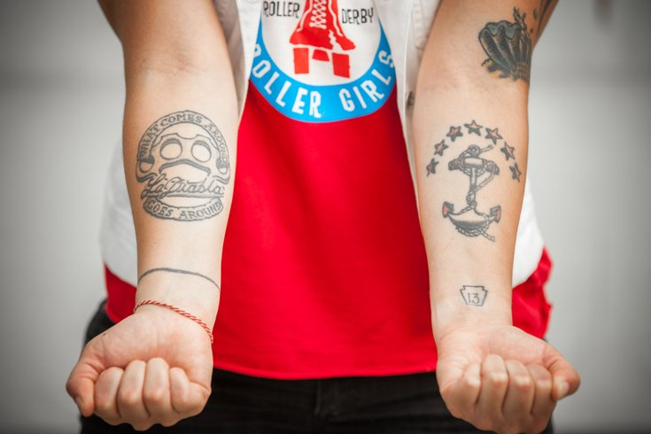 The tenacious tattoos of philly roller derby phillyvoice for Philly sports tattoo