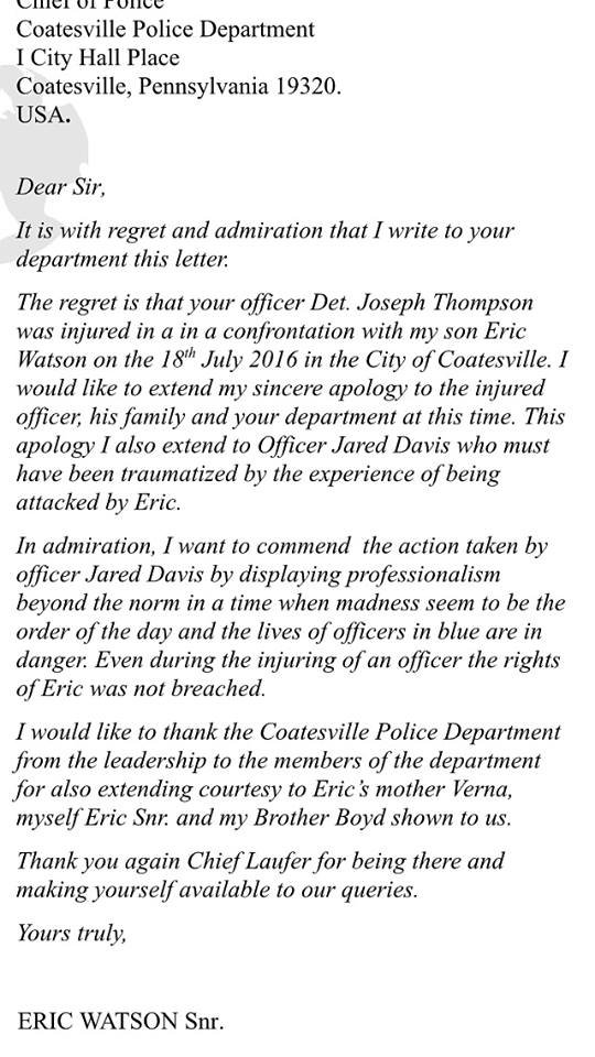 Father of man who injured Coatesville officer pens letter of – Admiration Letter
