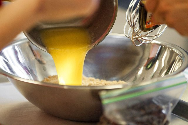 Butter being poured into bowl