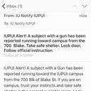 An alert from Indiana University-Purdue University campus in Indianapolis.