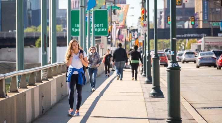 Pedestrians in Philadelphia Walking