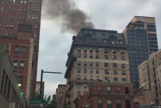 firefighters battle blaze at center city apartment building phillyvoice. Black Bedroom Furniture Sets. Home Design Ideas