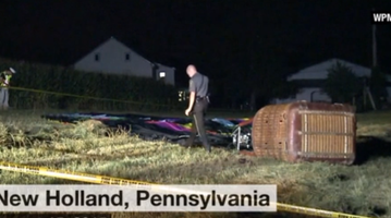 hot air balloon crash in Pennsylvania injures three