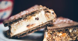 Friendly's Candy Bar Ice Cream Sandwich Made with Frosted Fudge Pop-Tarts and Take 5 Candy Bar Crumbles