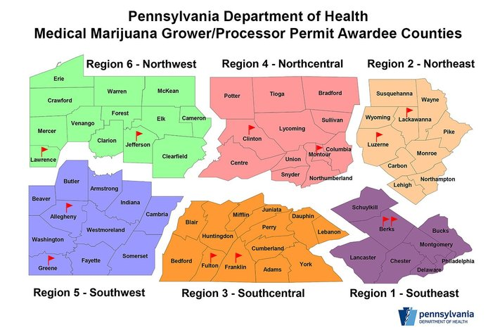 Pennsylvania Department of Health  TwitterThis map shows the locations of the 12 initial winners of permits to grow medical marijuana in Pennsylvania