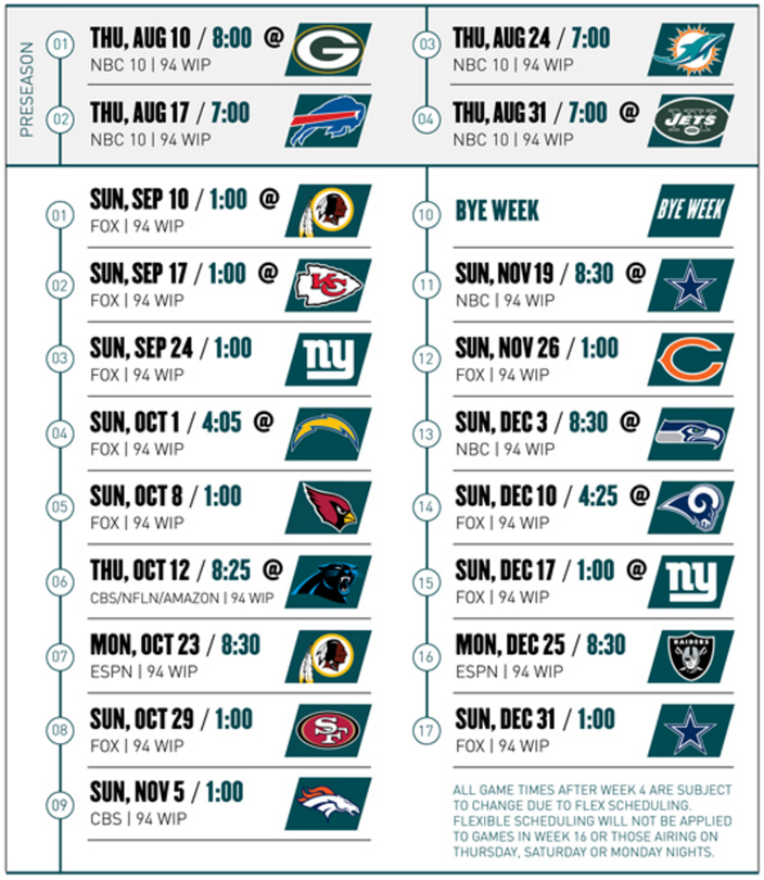 Sweet image regarding printable eagles schedule