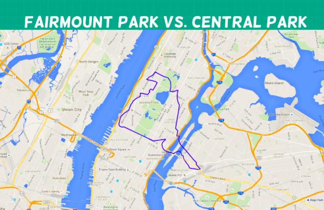 Maps pare size of massive Fairmount Park to Central Park Grand
