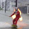 Fire surfing stunt