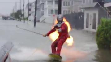 Fire surfing stunt