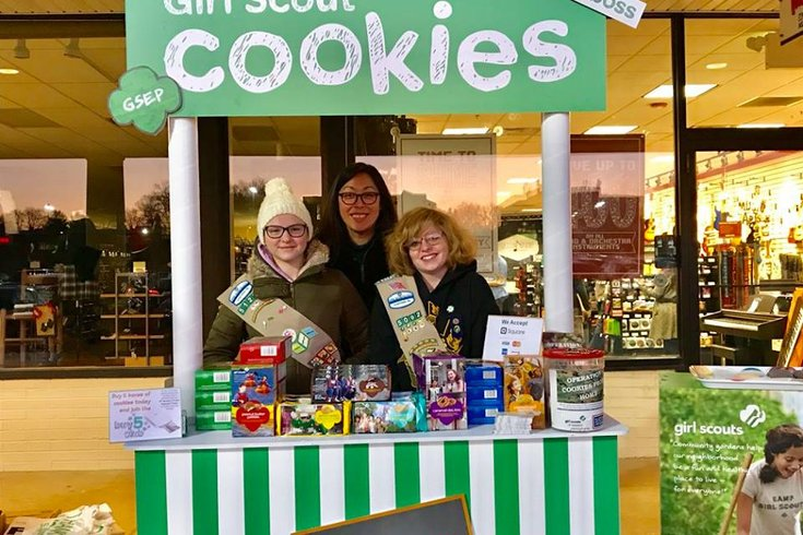 Girl Scout Cookie booth in Manayunk