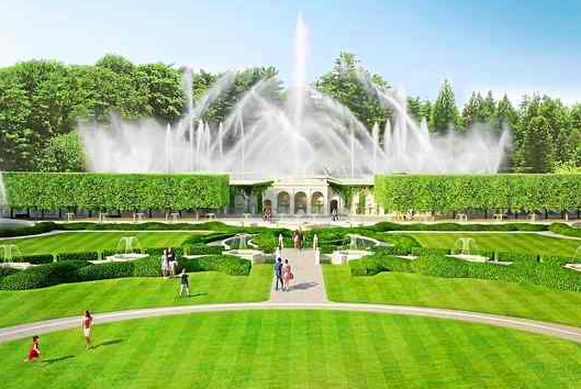 with fountain decorating flower clear beautiful garden topic