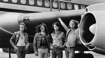 photo by Bob Gruen of the band Led Zeppelin in 1973