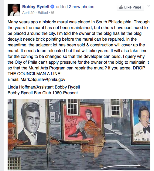 Bobby Rydell Facebook message