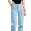 cut out denim pants