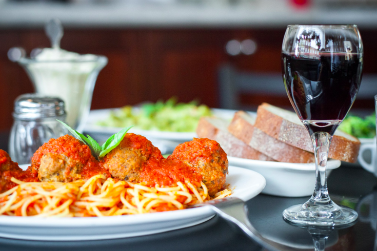 Spaghetti and Meatballs at a restaurant