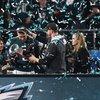 Lurie, Wentz and Foles Super Bowl celebration