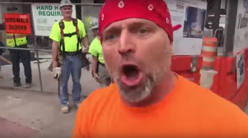 Construction worker protesters