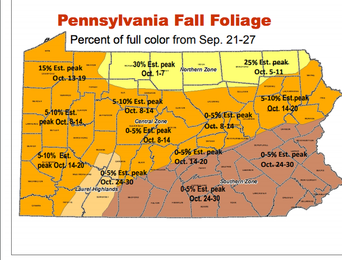 Map Here are the best times to view fall foliage across