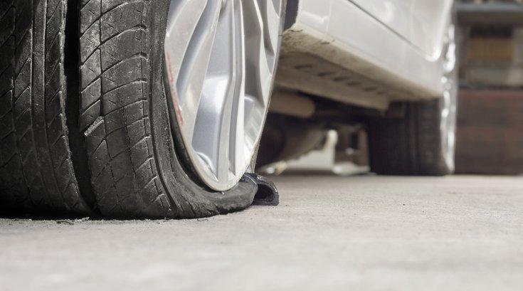 slashed tire