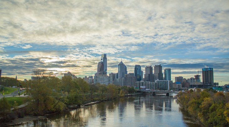 Philadelphia Skyline and River Dusk