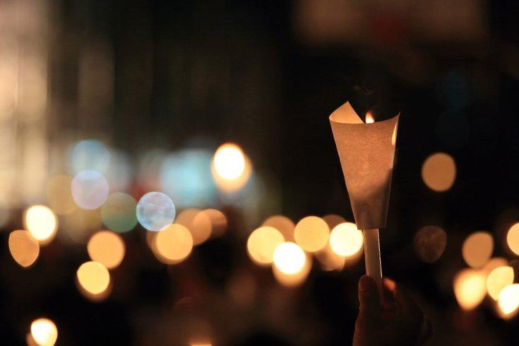 Candlight Vigil Stock Photo