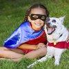 Superhero girl and dog