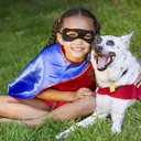 Superhero girl and dog