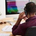 Man listening to music stock photo headphones