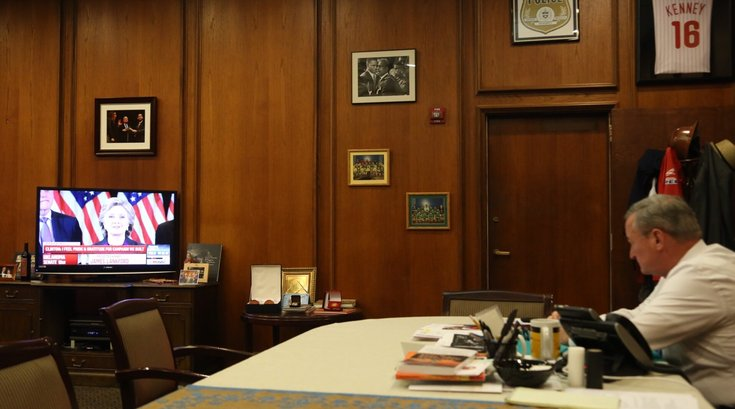 Kenney watches Clinton concession