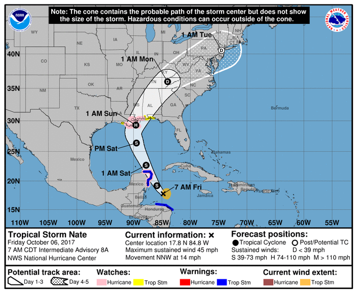 Philly Region In Tropical Storm Nates Probable Path As It Weakens - Accuweather forecast philadelphia