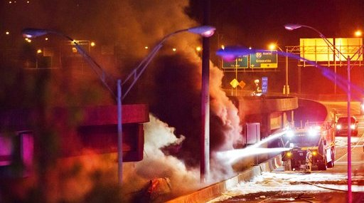 APTOPIX Overpass Collapse Fire